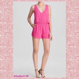Aqua Hot Pink Sleeveless Keyhole Back Romper Sz XS